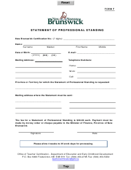 "Form F ""Statement of Professional Standing"" - New Brunswick, Canada"