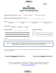 "Form L ""Copy of Certificate"" - New Brunswick, Canada"