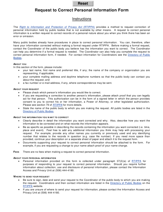 """""""Request to Correct Personal Information Form"""" - New Brunswick, Canada Download Pdf"""