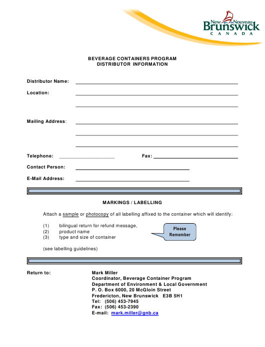 """Beverage Containers Program Distributor Information"" - New Brunswick, Canada Download Pdf"