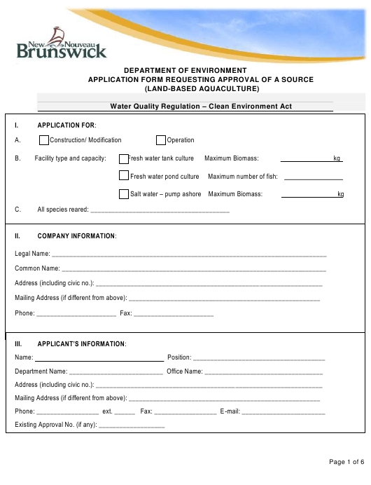 """Application Form Requesting Approval of a Source (Land-Based Aquaculture)"" - New Brunswick, Canada Download Pdf"