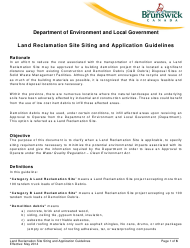 """Application Form for a Land Reclamation Site"" - New Brunswick, Canada"
