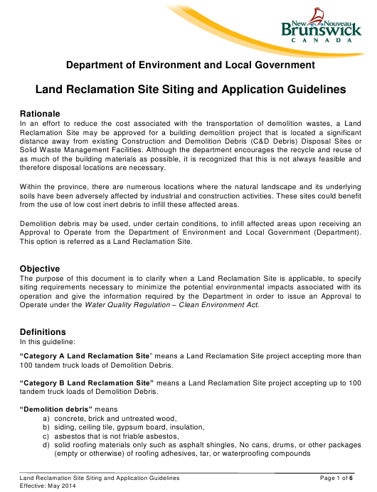 """""""Application Form for a Land Reclamation Site"""" - New Brunswick, Canada Download Pdf"""