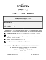 "Schedule E ""Installers Application Form"" - New Brunswick, Canada"