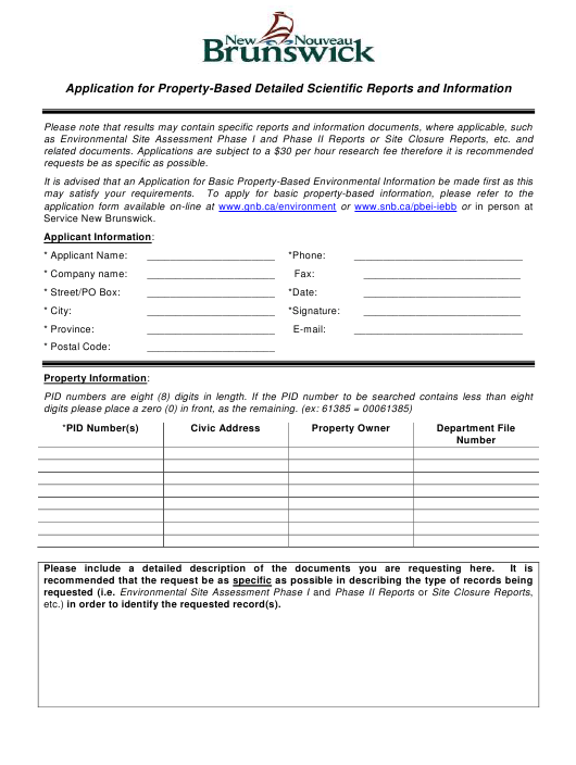 """""""Application for Property-Based Detailed Scientific Reports and Information"""" - New Brunswick, Canada Download Pdf"""