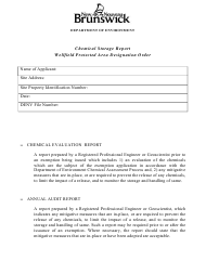 """Chemical Storage Report - Wellfield Protected Area Designation Order"" - New Brunswick, Canada"