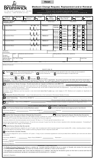 """Form 35-5210 """"Medicare Change Request, Replacement and/Or Renewal"""" - New Brunswick, Canada"""