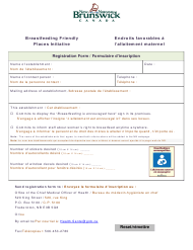 """Breastfeeding Friendly Places Initiative - Registration Form"" - New Brunswick, Canada (English/French)"