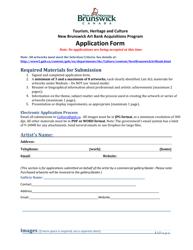 """New Brunswick Art Bank Acquisitions Program Application Form"" - New Brunswick, Canada"