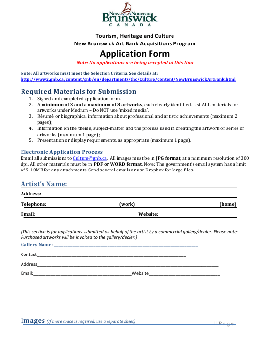 """New Brunswick Art Bank Acquisitions Program Application Form"" - New Brunswick, Canada Download Pdf"