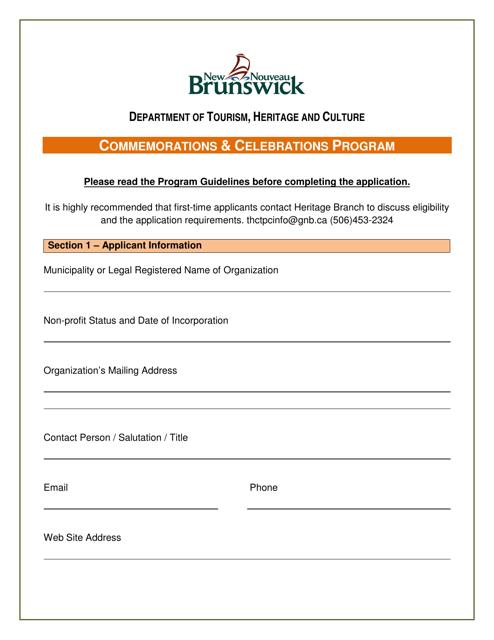 """Commemorations & Celebrations Program Application"" - New Brunswick, Canada Download Pdf"