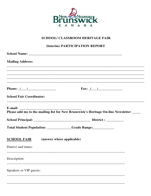 """School/ Classroom Heritage Fair (Interim) Participation Report"" - New Brunswick, Canada Download Pdf"