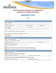 """New Brunswick's Property Tax Abatement Program for Heritage Properties Application Form"" - New Brunswick, Canada"