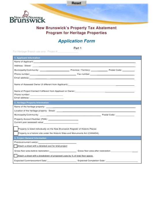"""New Brunswick's Property Tax Abatement Program for Heritage Properties Application Form"" - New Brunswick, Canada Download Pdf"