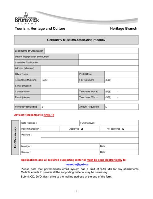 """Community Museums Assistance Program Application"" - New Brunswick, Canada Download Pdf"