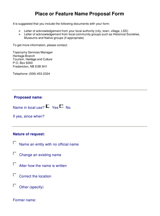 """""""Place or Feature Name Proposal Form"""" - New Brunswick, Canada Download Pdf"""