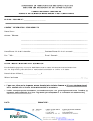 """""""Surplus Property Offer Form"""" - New Brunswick, Canada (English/French)"""