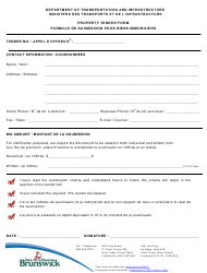"""""""Property Tender Form"""" - New Brunswick, Canada (English/French)"""