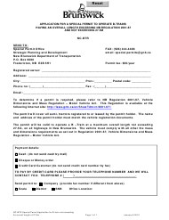 """""""Application for a Special Permit to Operate B-Trains Having an Overall Length Exceeding Nb Regulation 2001-67 and Not Exceeding 27.5m"""" - New Brunswick, Canada"""