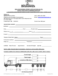"""""""Non Conforming Permit Application (Nc-Tr) Truck-Tractor in Combination With a Quadrem Semitrailer Which Is Not Equipped With a Self Steer Axle"""" - New Brunswick, Canada"""