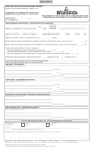 """""""Application for Advertising Permit"""" - New Brunswick, Canada (English/French)"""