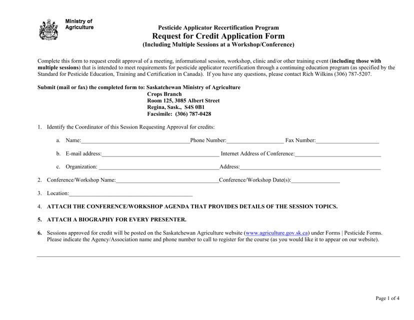 """Pesticide Applicator Recertification Program Request for Credit Application Form"" - Saskatchewan, Canada Download Pdf"