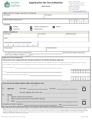"""Application for Accreditation (Short Form)"" - Saskatchewan, Canada"