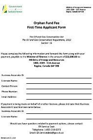 """Orphan Fund Fee - First Time Applicant Form"" - Saskatchewan, Canada"