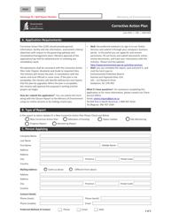 "Form CSB21003 ""Corrective Action Plan"" - Saskatchewan, Canada"