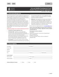 "Form CSB24002 ""Fish and Wildlife Development Fund Student Research Awards Application"" - Saskatchewan, Canada"