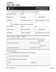 "Form CSB12003 ""Wildlife Import/Export Permit Application Form"" - Saskatchewan, Canada"
