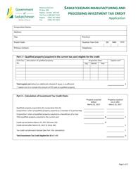 """Saskatchewan Manufacturing and Processing Investment Tax Credit Application"" - Saskatchewan, Canada"