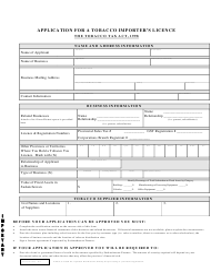 """Application for a Tobacco Importer's Licence"" - Saskatchewan, Canada"