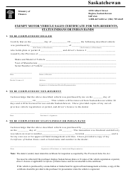 """""""Exempt Motor Vehicle Sales Certificate for Non-residents, Status Indians or Indian Bands"""" - Saskatchewan, Canada"""