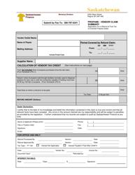 """Propane - Vendor Claim Summary"" - Saskatchewan, Canada"