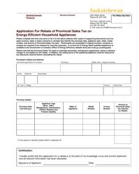 """Application for Rebate of Provincial Sales Tax on Energy-Efficient Household Appliances"" - Saskatchewan, Canada"