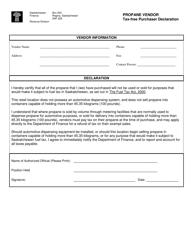 """Propane Vendor Tax-Free Purchaser Declaration"" - Saskatchewan, Canada"