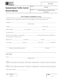 "Form GS-039 ""First Nations Community Access"" - Saskatchewan, Canada"