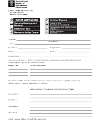 """""""Community Attraction and Event Sign Application Form"""" - Saskatchewan, Canada"""