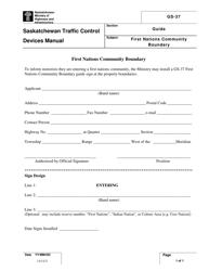 "Form GS-37 ""First Nations Community Boundary Application Form"" - Saskatchewan, Canada"