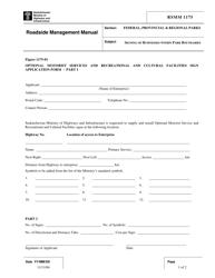 "Form RSMM1175-01 ""Optional Motorist Services and Recreational and Cultural Facilities Sign Application Form"" - Saskatchewan, Canada"