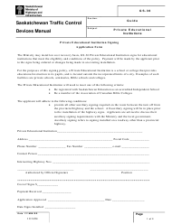 """Form GS-36 """"Private Educational Institution Signing Application Form"""" - Saskatchewan, Canada"""