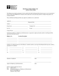 """""""Regional Park Symbol Tab Application Form"""" - Saskatchewan, Canada"""