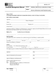 "Form RSMM1175 ""Standard Motorist Services and Recreational and Cultural Facilities Sign Application Form"" - Saskatchewan, Canada"