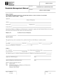 "Form RSMM1110-40-5 ""Standard Motorist Services and Recreational and Cultural Facilities Sign Application Form"" - Saskatchewan, Canada"