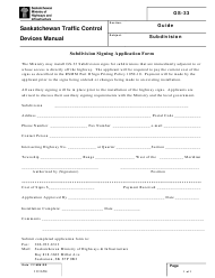 "Form GS-33 ""Subdivision Signing Application Form"" - Saskatchewan, Canada"