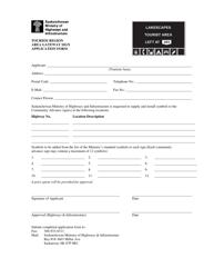 """Tourism Region Area Gateway Sign Application Form"" - Saskatchewan, Canada"