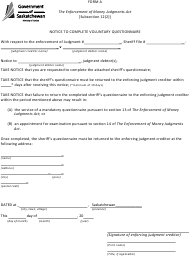 """Form A """"Notice to Complete Voluntary Questionnaire"""" - Saskatchewan, Canada"""