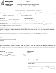 "Form D ""Notice to Complete Sheriff's Questionnaire"" - Saskatchewan, Canada"