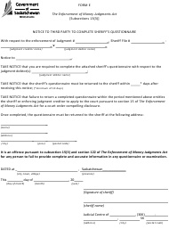 """Form E """"Notice to Third Party to Complete Sheriff's Questionnaire"""" - Saskatchewan, Canada"""